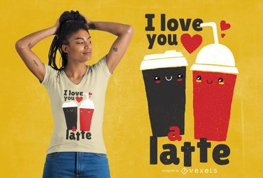 Diseño de camiseta te amo latte