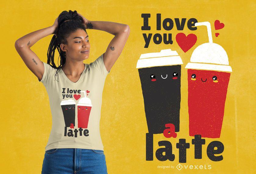 Eu te amo design de t-shirt com leite