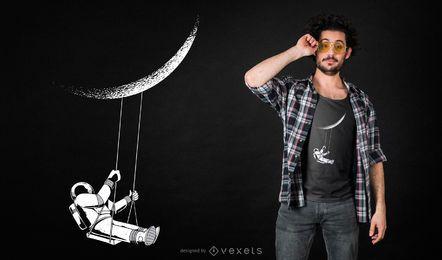 Projeto do t-shirt do astronauta da lua
