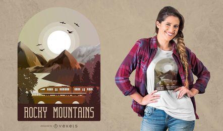 Projeto do t-shirt das montanhas rochosas
