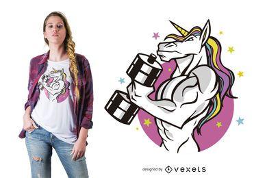 Design de t-shirt de unicórnio muscular
