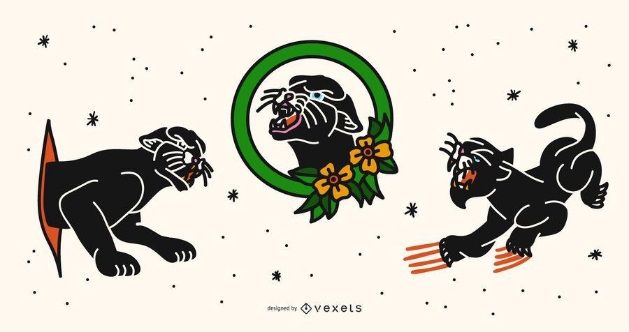 Conjunto de design de tatuagem de pantera