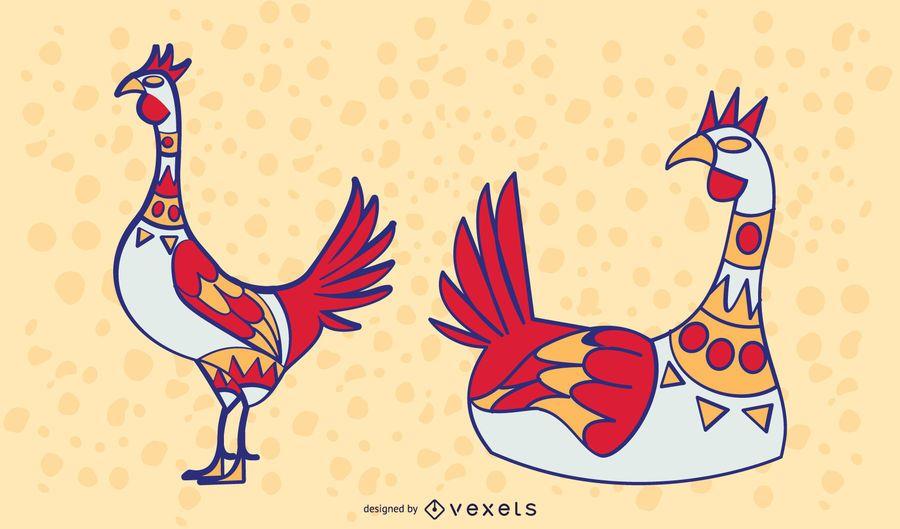 Farbiges stilvolles Huhn-Set
