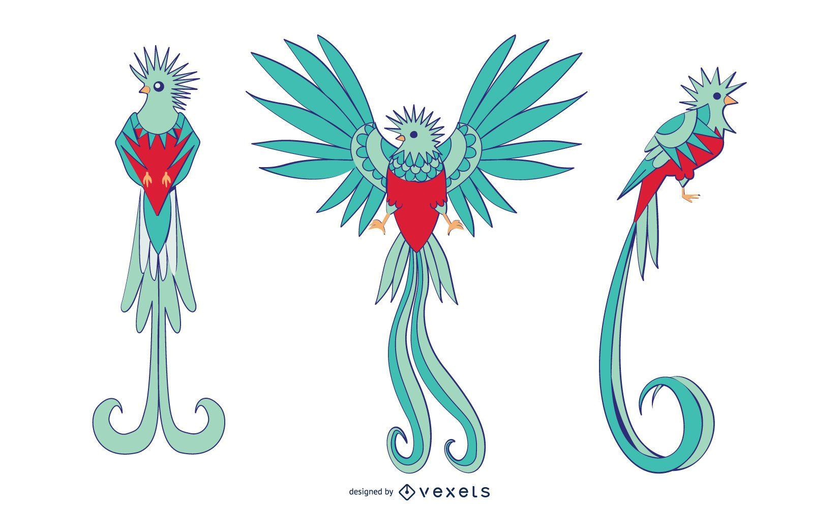 Stylish Colored Cockatoo Vector Set