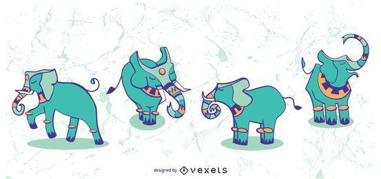 Ilustración elegante conjunto de elefante