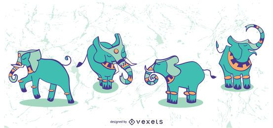 Stylish Elephant Set Illustration