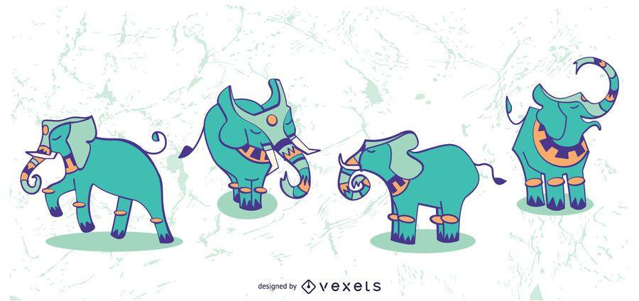 Ilustração elegante conjunto de elefante