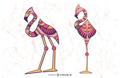 Stylish Flamingo Illustration Set