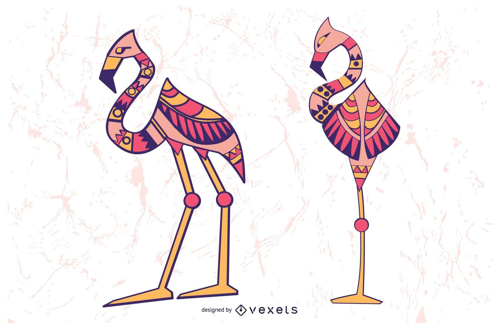 Stylish Flamingo Illustration Set