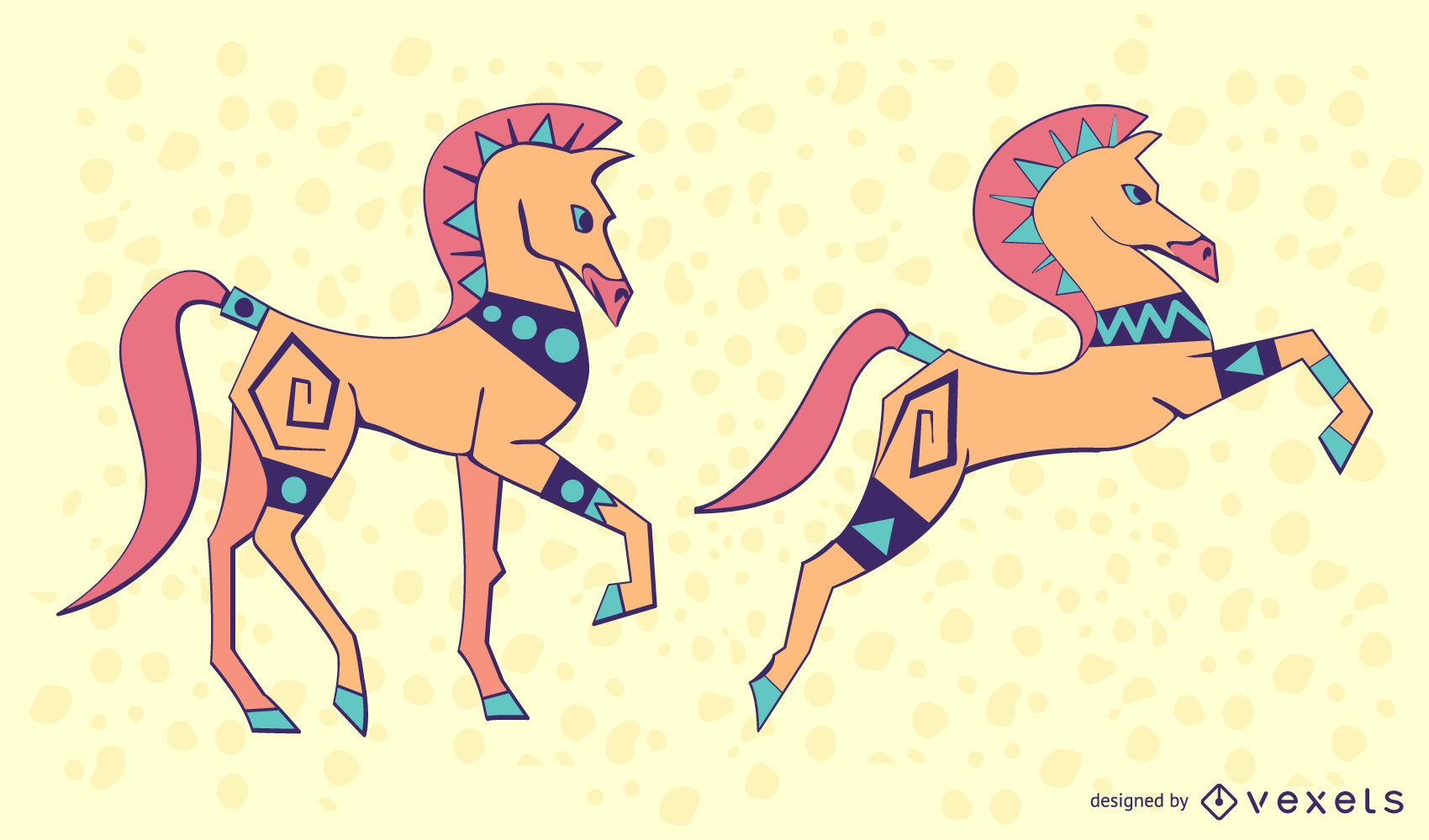 Conjunto de caballos de colores con estilo
