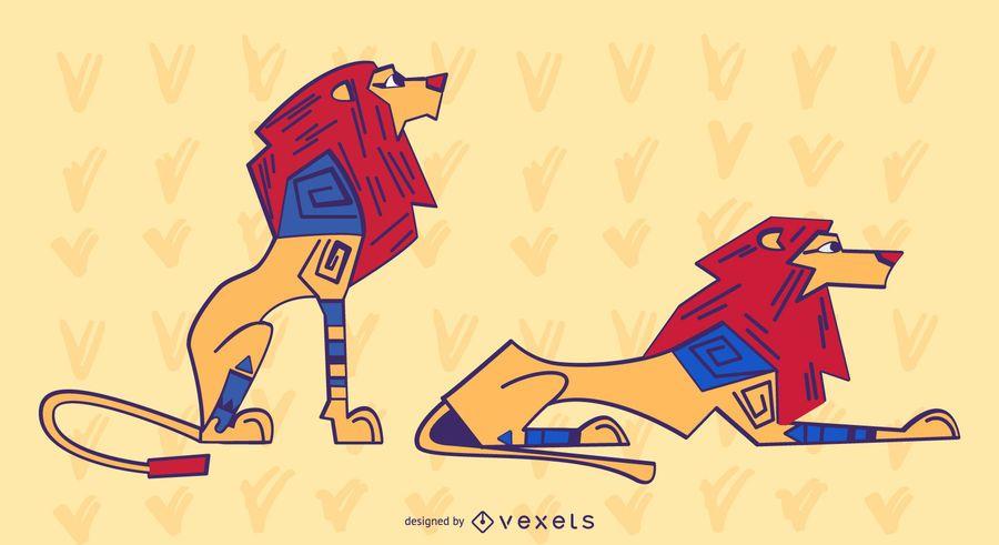 Elegante conjunto de leones de colores