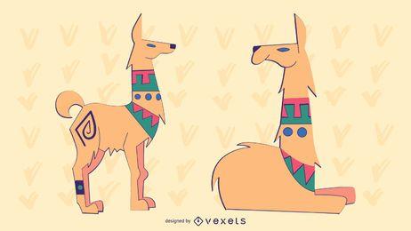 Elegante conjunto de Lama de colores
