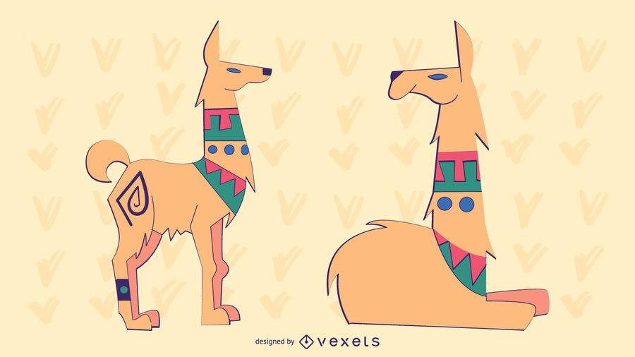 Stilvolles farbiges Lama-Set