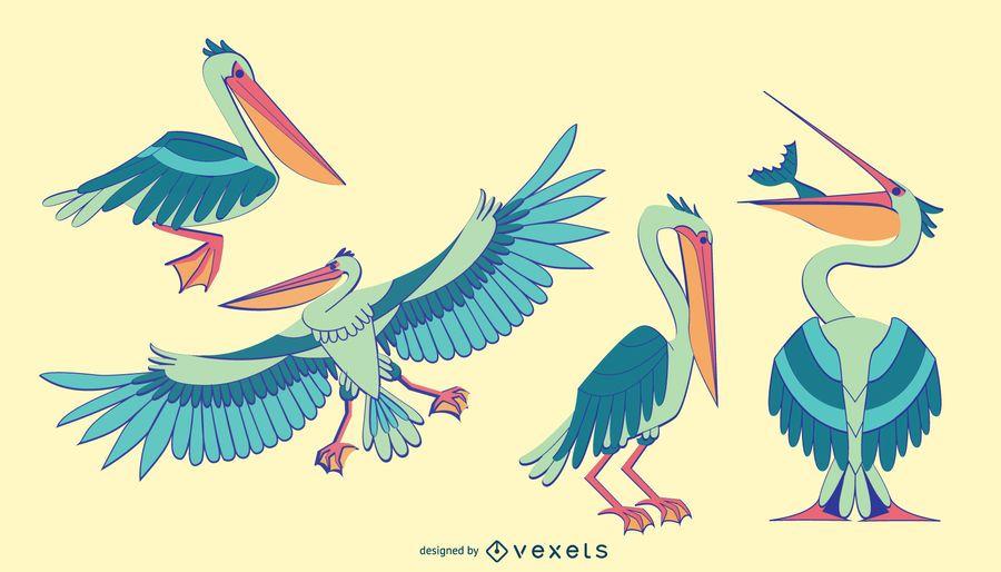 Elegante conjunto de pelicano colorido
