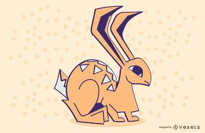 Diseño de ilustración de conejo coloreado con estilo