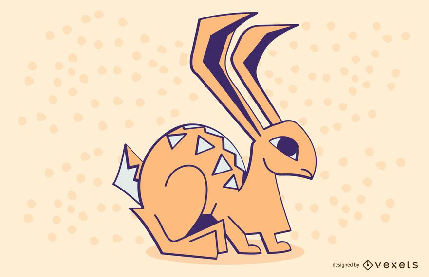 Stylish Colored Rabbit Illustration Design