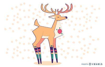Ilustração colorida elegante da rena
