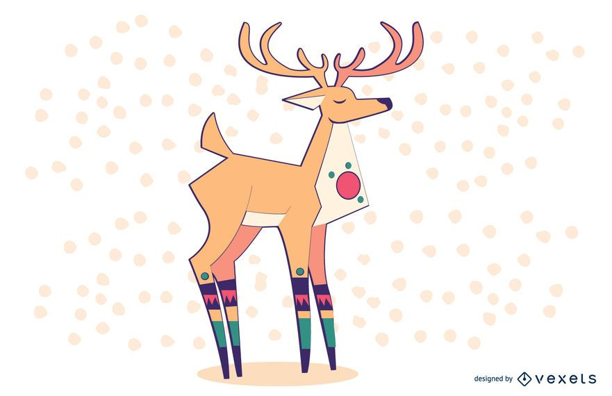 Stylish Colored Reindeer Illustration
