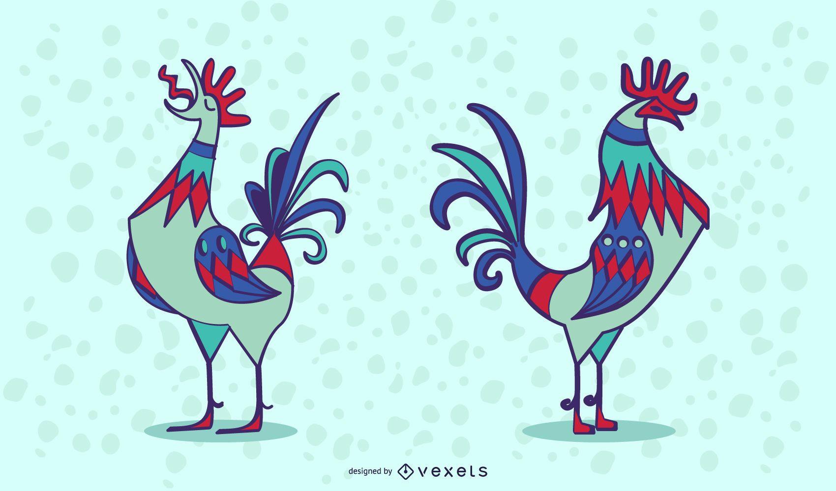 Stylish Colored Rooster Illusration Set
