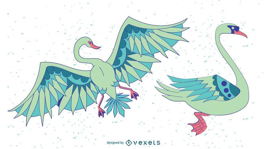 Elegante cisne de color conjunto de vectores