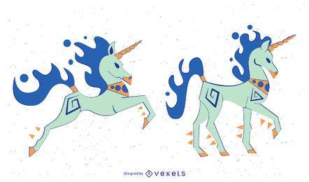 Conjunto de vectores de unicornio coloreado con estilo