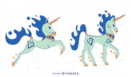Stilvoller farbiger Unicorn Vector Set