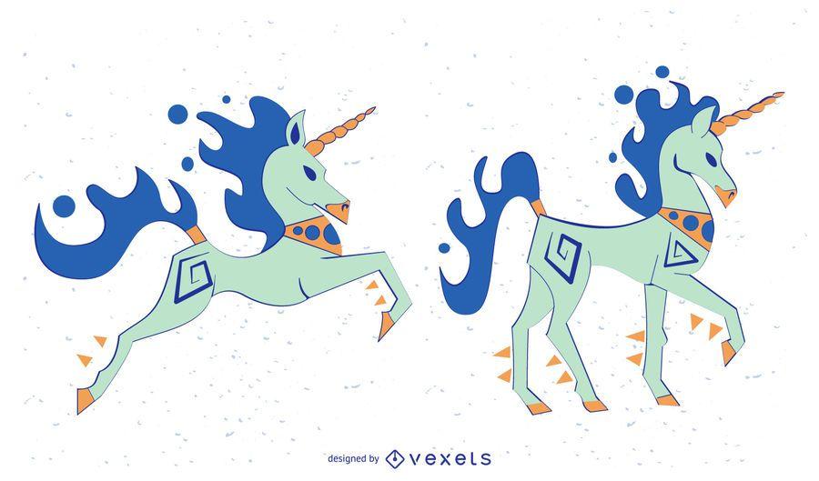 Stilvoller farbiger Unicorn Vector Set