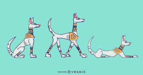 Conjunto de cão branco colorido elegante