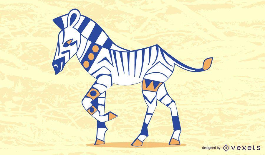 Colored Sylish Zebra Design Vector