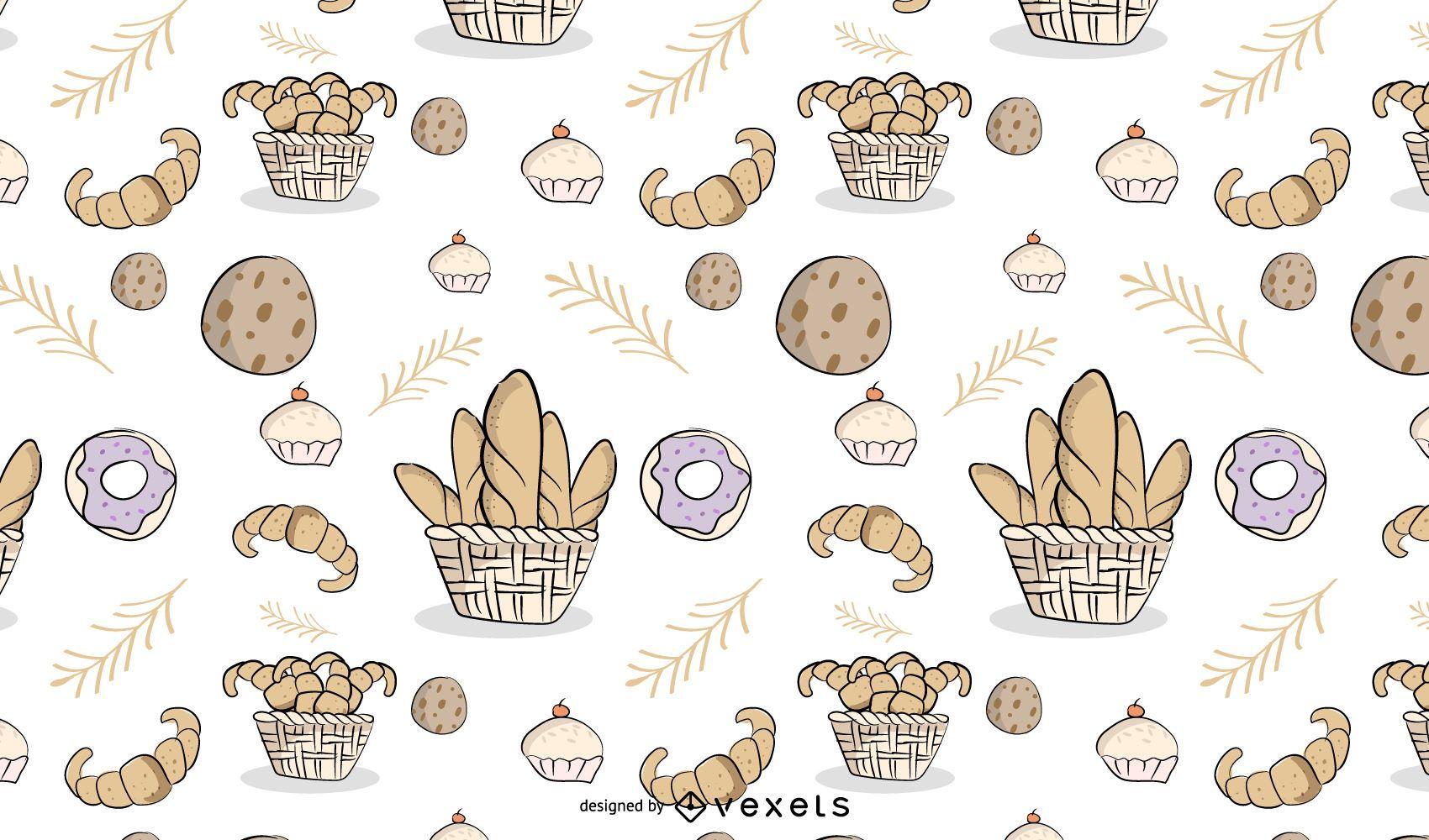 Diseño de patrón enlosable de panadería