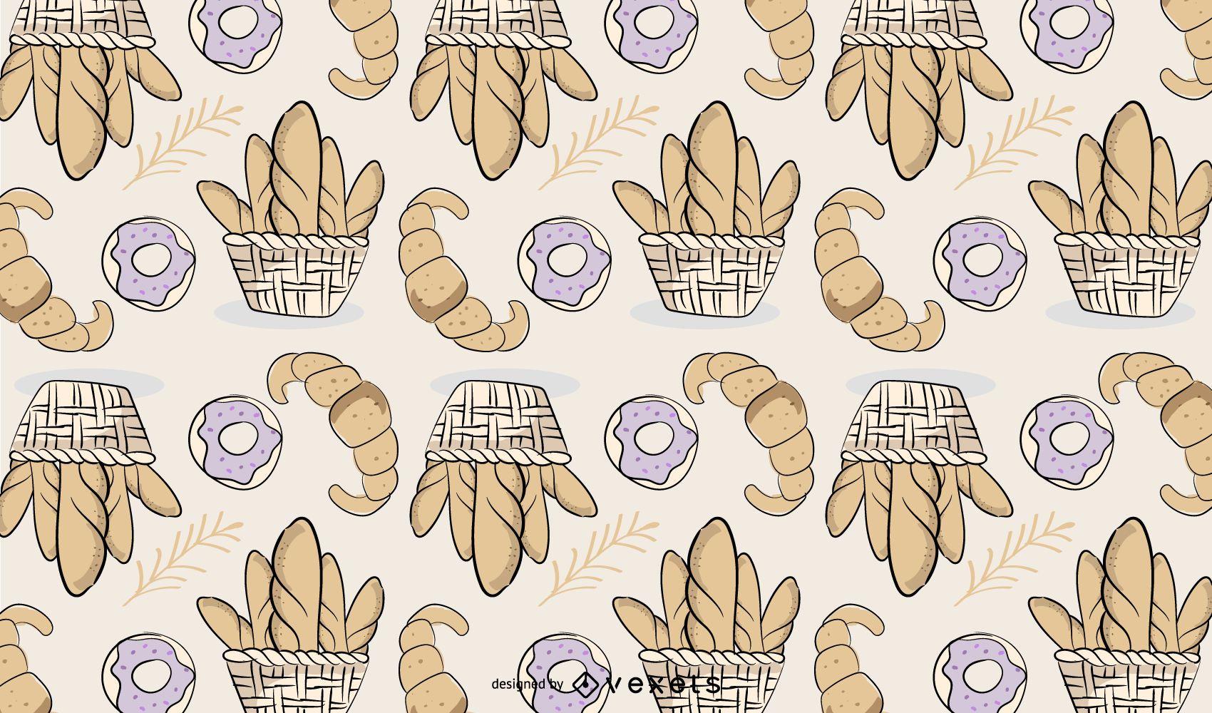 Diseño de patrón de pan de panadería