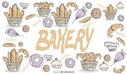 Desenho de padaria desenhado à mão