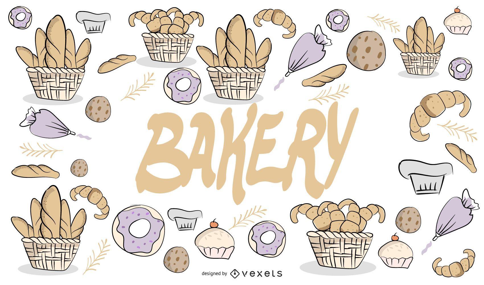 Diseño de panadería dibujado a mano