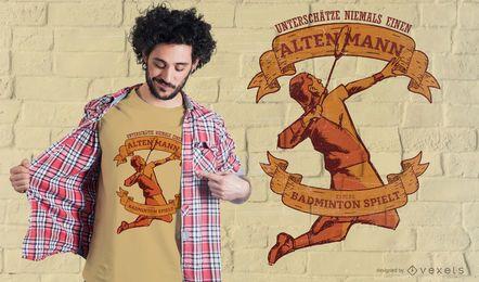 Design de t-shirt alemão de badminton