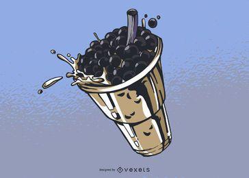 Ilustração de chá de bolha