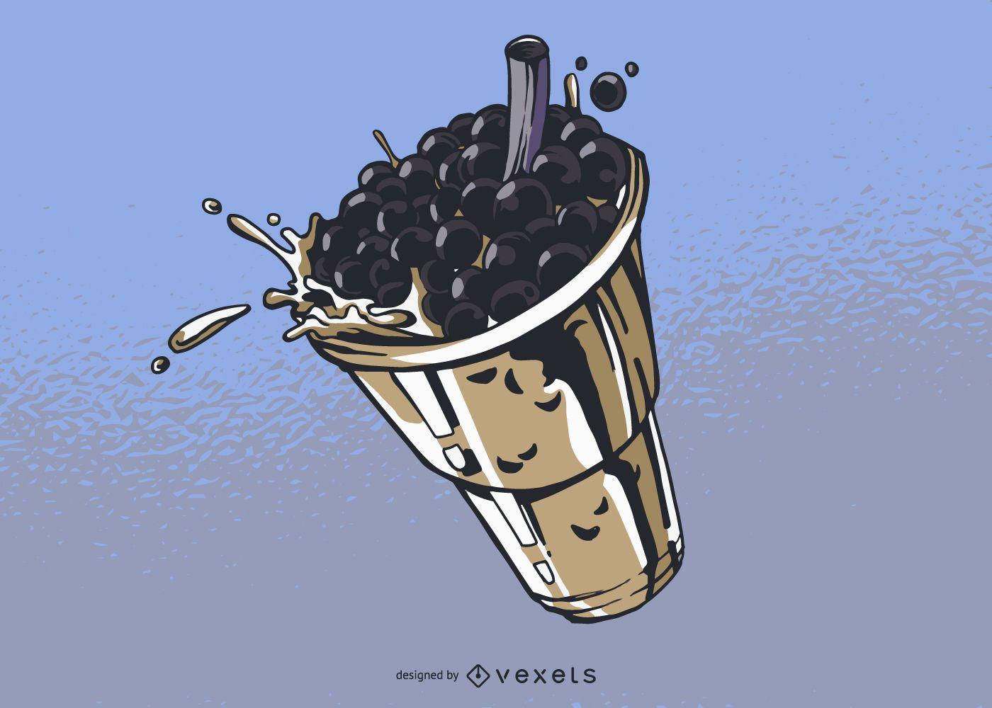Ilustración de té de burbujas