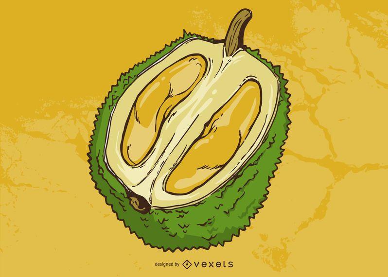 Ilustración de fruta durian