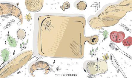 Diseño de Vector de ilustración de elementos de panadería