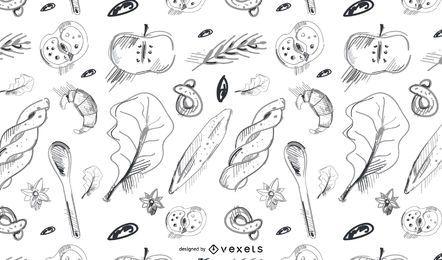 Dibujado a mano patrón de panadería