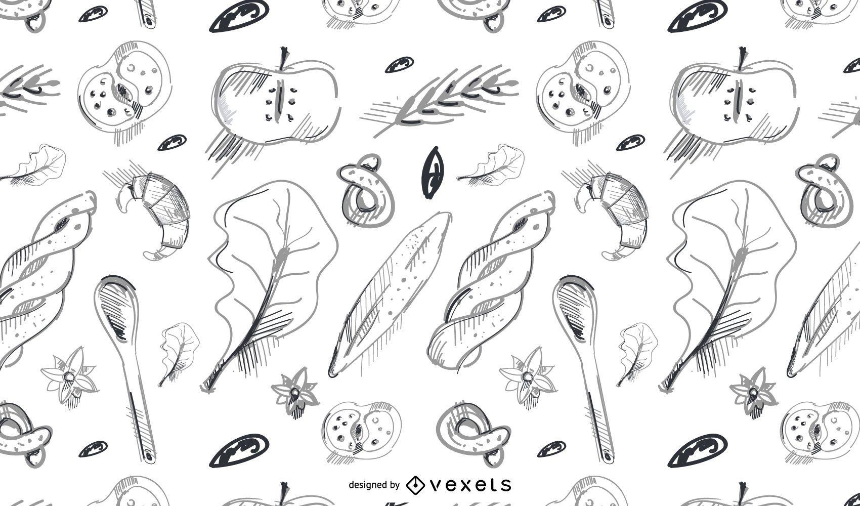 Patrón de panadería dibujado a mano