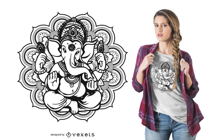 Projeto do t-shirt da mandala de Ganesh