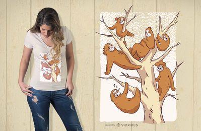 Design de camiseta para a família da preguiça