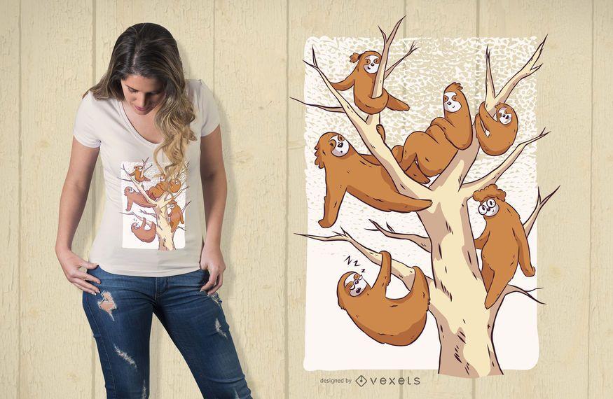 Diseño de camiseta de familia perezoso.