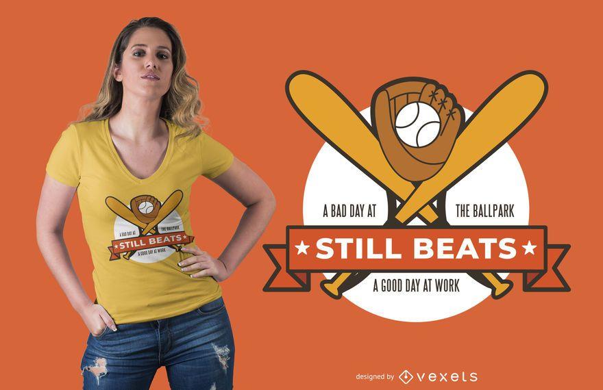 O basebol ainda bate o design do t-shirt