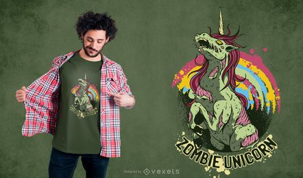 Projeto do t-shirt do unicórnio do zombi