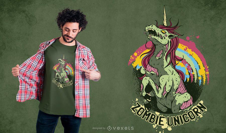Diseño de camiseta unicornio zombie