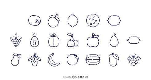 Coleção de ícone de traço de fruta