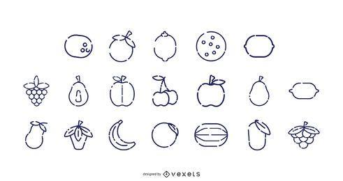 Colección de iconos de trazo de frutas