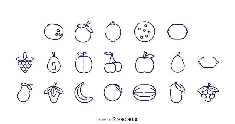 Fruit stroke icon collection