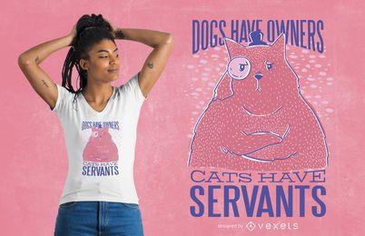 Diseño divertido de la camiseta de la cita del gato